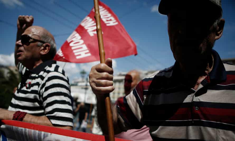Greek pensioners at an anti-austerity rall