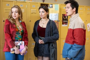 Aimee Lou Wood with Emma Mackey and Asa Butterfield in Sex Education.
