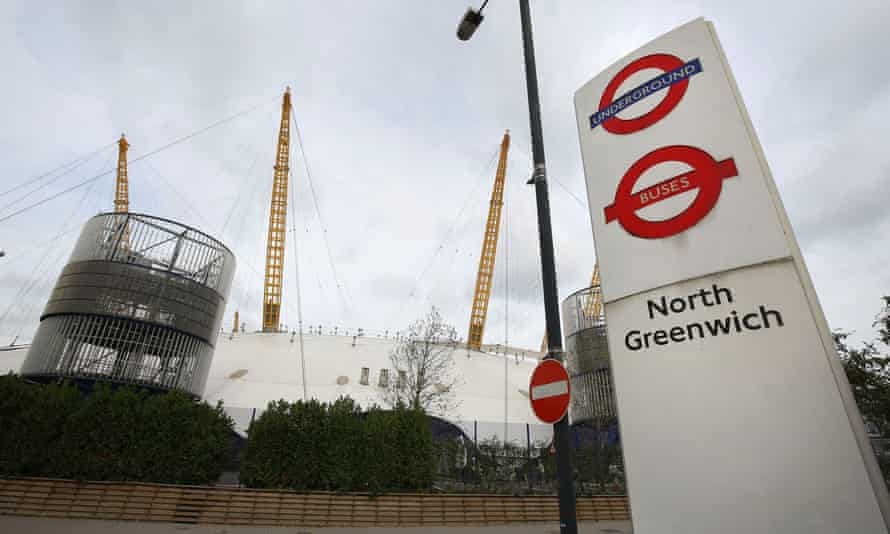 North Greenwich station is near the O2 entertainment complex.