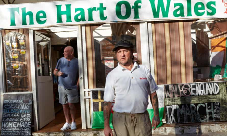 British expat Richie Hart outside his Welsh-themed bar.