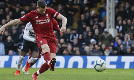 Liverpool go back to the top after James Milner converts late penalty at Fulham