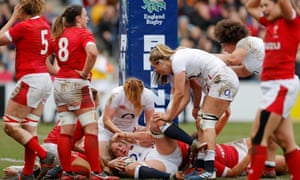 England lock Poppy Cleall scores her second try at The Stoop.