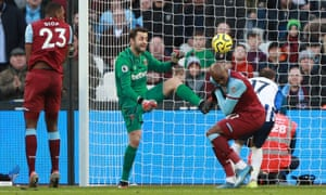 West Ham United's Angelo Ogbonna scores an own goal and puts Brighton & Hove Albion's back in the game.
