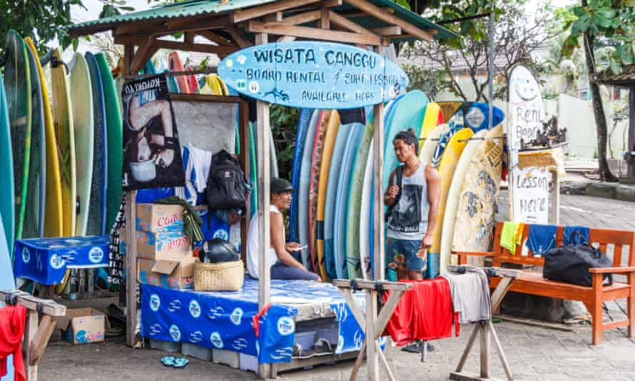 A surfboard rental stall in Canggu