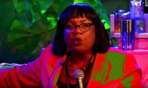 Diane Abbott appearing at Novara Media's Radical Variety Show