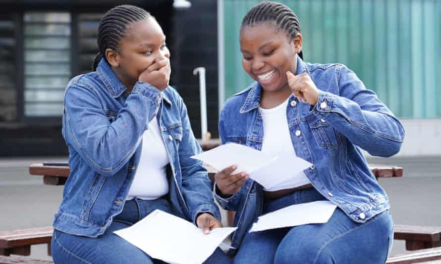 Twins Kehinde (left) and Deborah Sowole open their A-level results at Ark Globe academy in London.