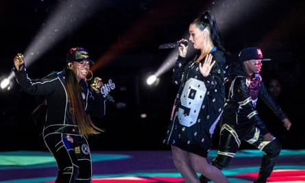 Katy Perry and Missy Elliott perform at Super Bowl Halftime in 2015