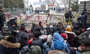 Refugees and migrants at the Turkish-Greek border at Edirne
