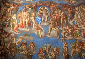 The Last Judgment by Michelangelo, inside the Sistine chapel.