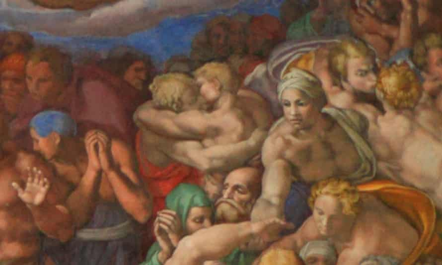 Anything but chaste … detail of The Last Judgment by Michelangelo in the Sistine Chapel, Rome.