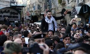 Arab Idol winner Yaqoub Shaheen is welcomed in Bethlehem yesterday.