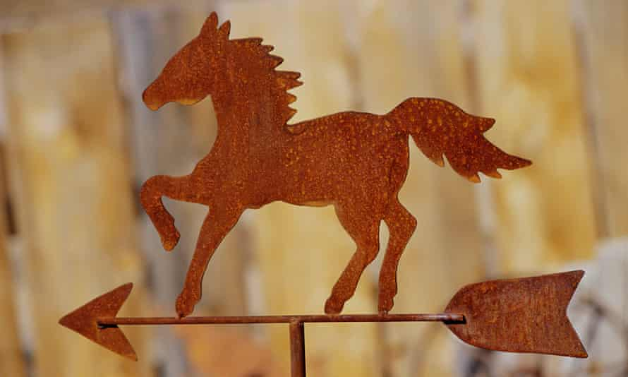 A weather vane in the shape of a horse