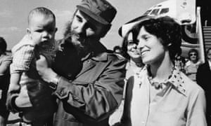 Margaret Trudeau smiles as Cuban President Fidel Castro holds her youngest son Michel after the Trudeaus arrived in Havana, Cuba in 1976.