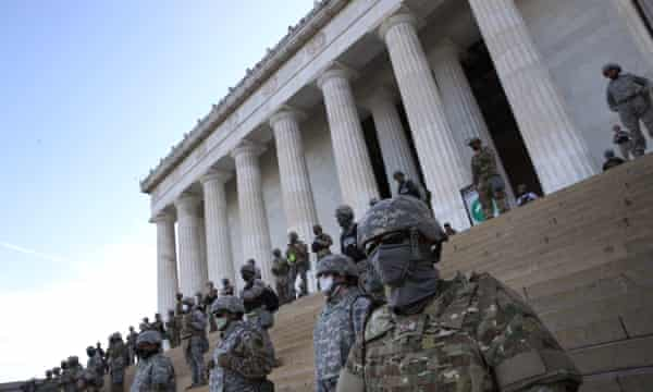 The DC National Guard at the steps of the Lincoln Memorial on Tuesday.