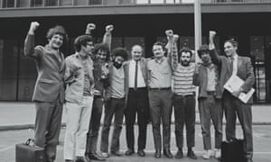 Leonard Weinglass, Rennie Davis, Abbie Hoffman, Lee Weiner, David Dellinger, John Froines, Jerry Rubin, Tom Hayden, and William Kunstler