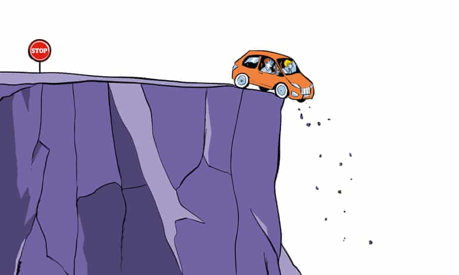 Illustration of car driving off a cliff