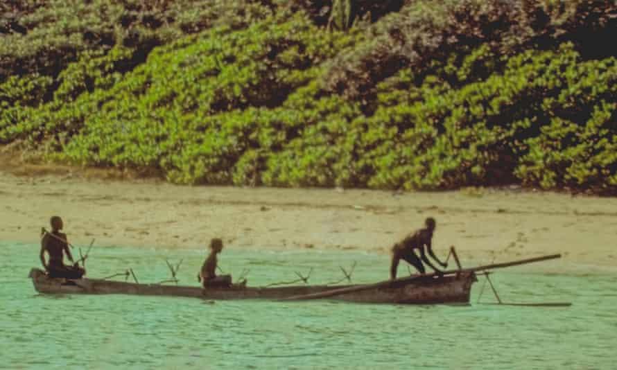 Tribespeople on North Sentinel Island, where Chau died.