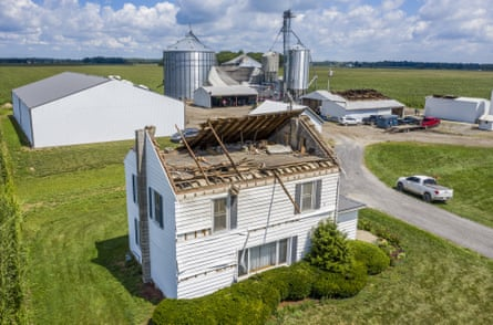 Destruction left by the storm in Wakarusa, Indiana on 11 August.