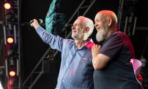 Jeremy Corbyn and Michael Eavis together on the Pyramid stage at Glastonbury festival.