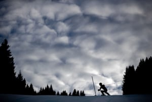 Lebanese skier Ray Iskandar competes in the alpine skiing men's slalom at Les Diableret's alpine centre.