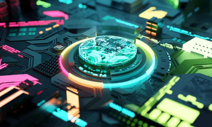 Multicoloured Futuristic CPU and ProcessorMulticoloured futuristic CPU and processor, quantum and machine learning concept. 3D illustration concept.