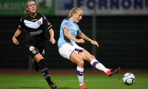 Pauline Bremer scores her second, and Manchester City's fourth, against Lugano in Switzerland.