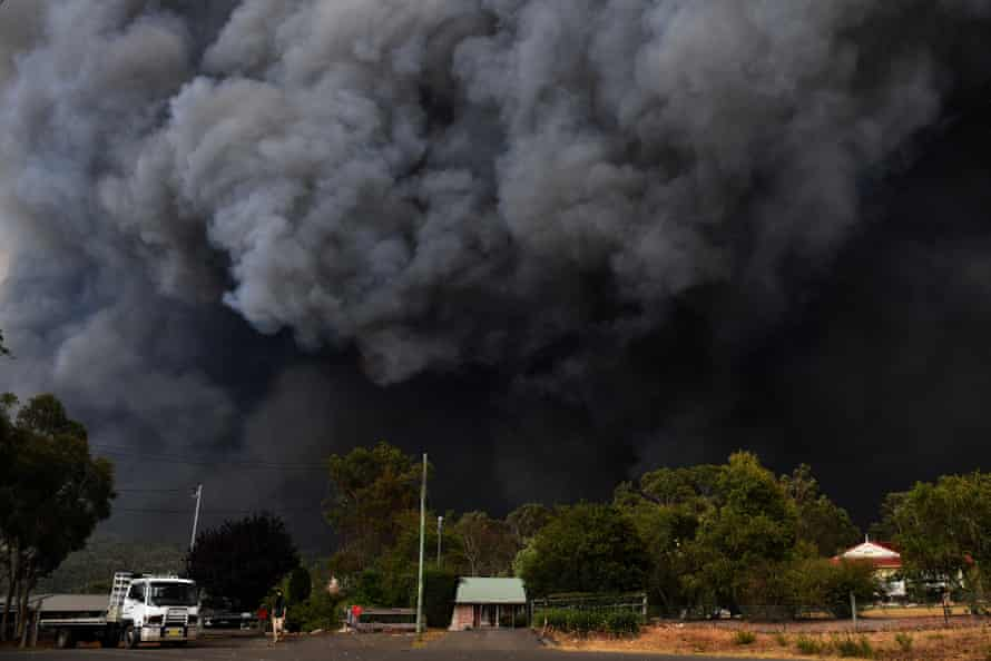 Smoke from bushfires rises into the air near Sydney, New South Wales