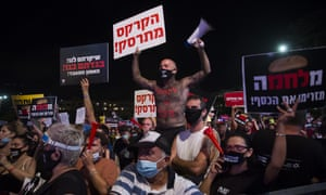 Israelis gather in Tel Aviv to protest against the government's economic response to the corornavirus pandemic.