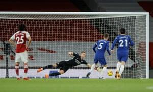 Arsenal's Bernd Leno saves a penalty taken by Chelsea's Jorginho.