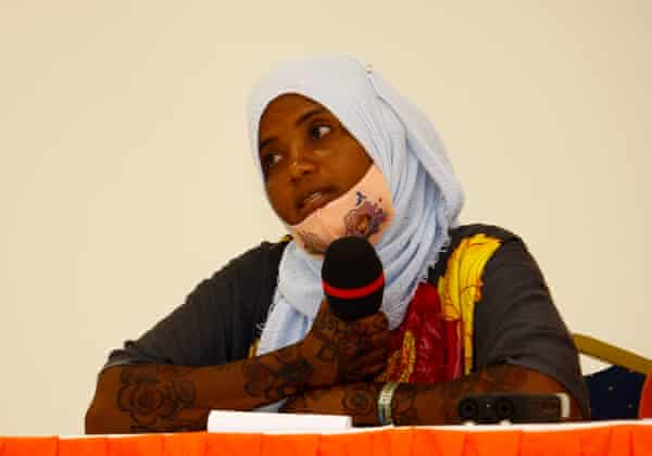 Zulfa Hassan, a member of the Mtangawanda Mangrove Restoration Women Group, at a workshop.