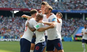 England celebrate a goal against Panama.