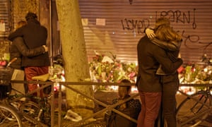 Parisians gather at La Belle Equipe cafe and bar, where terrorists struck.