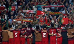 Portugal players celebrate after qualification.