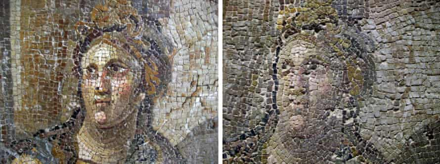 A mosaic before (L) and after (R) restoration, in the Hatay Archaeology Museum, Turkey.