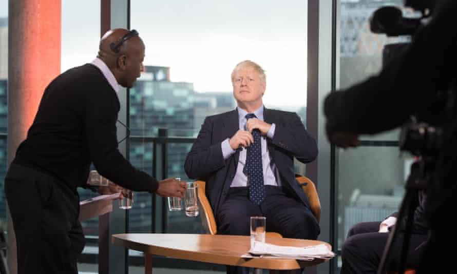 Boris Johnson preparing to appear on the BBC's Andrew Marr show in September