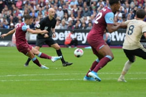 Cresswell curls the free-kick into the top corner to score the second goal for The Hammers.