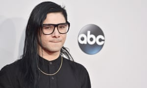 <strong>Specs appeal</strong> producer Skrillex in a collarless shirt.