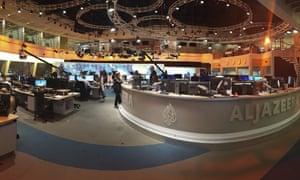 Al-Jazeera staff work in Doha, Qatar