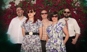 Camera Obscura, with Carey Lander second left, at the Coachella festival in 2010.