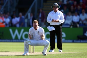 Ben Stokes celebrates taking the wicket of Adam Voges for 31