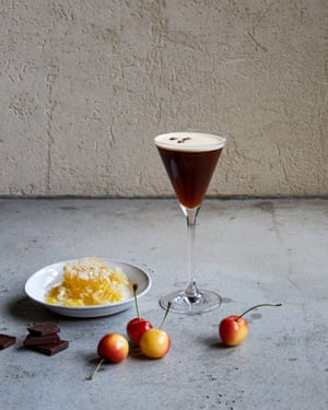 The Grey Goose Espresso Martini with honey, chocolate and cherries.