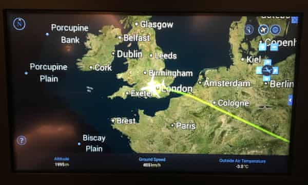 A screen showing the plane's location during the last moments of the flight