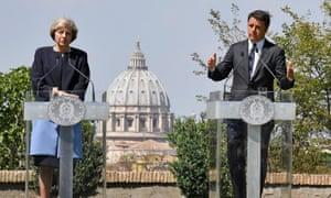 Theresa May with Matteo Renzi at Villa Doria Pamphilj in Rome.