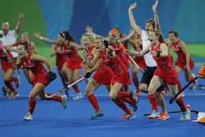Great Britain celebrate their victory.
