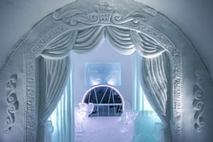 frozen theatre, courtesy of Jonathan and Marnie Green's suite with its ice-carved curtains and a bed nestled amid miniature theatre seats