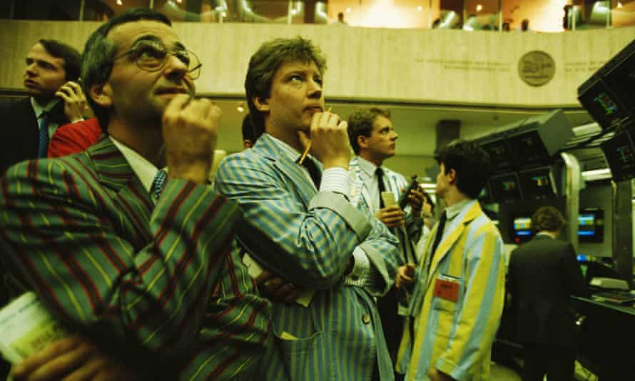 Workers on the London Stock Exchange, May 1988.