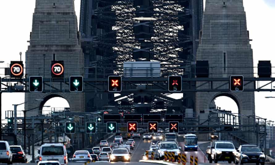 Early morning traffic on the Harbour Bridge in Sydney.
