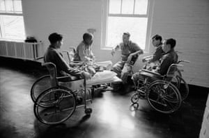 A group of amputee Vietnam veterans in hospital in San Francisco, 1967.