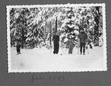 The Lindgren family go skiing, in a page from Astrid's wartime notebooks.