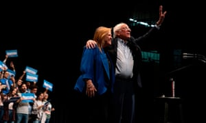 Senator Bernie Sanders with his wife, Jane O'Meara Sanders, on Saturday.